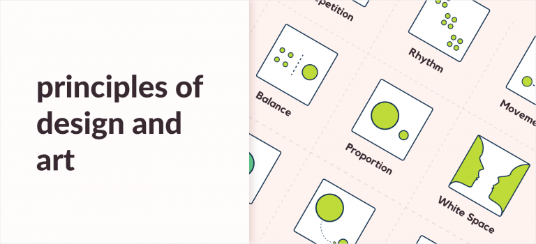 11 principles of design and art article banner with infographis and examples