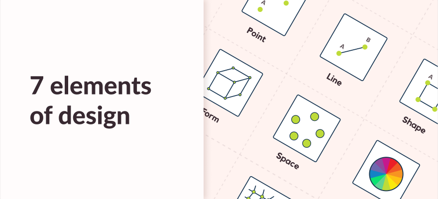 7 elements of design and art article banner with infographis