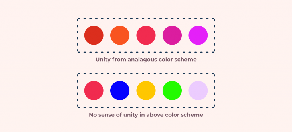 Unity in design example using color palettes