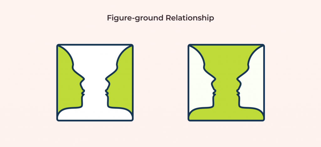 figure ground principle example with human faces and vase as example illustrated