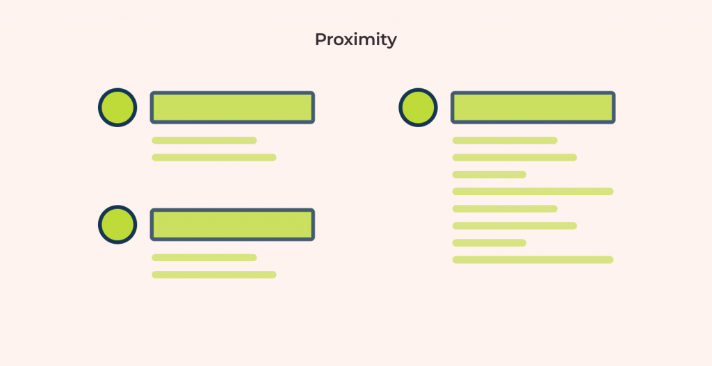 proximity gestalt design principle: clustering similar elements together to show relatedness