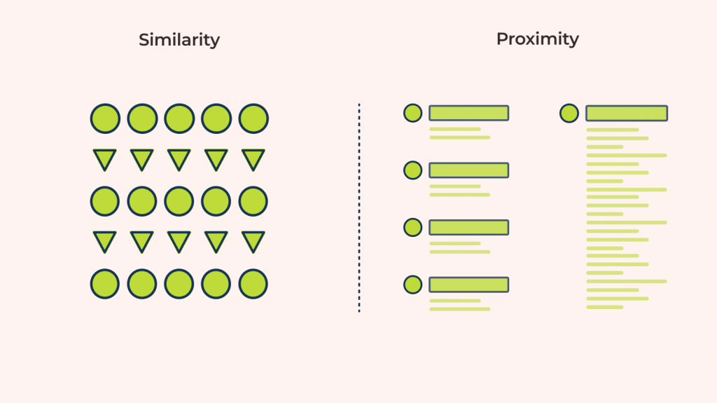 similarity vs proximity gestalt principles explained through visual cues