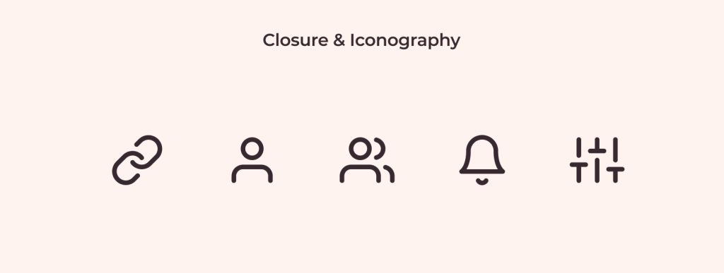 Closure example in iconography: how feather icons use this principle to leverage being tiny